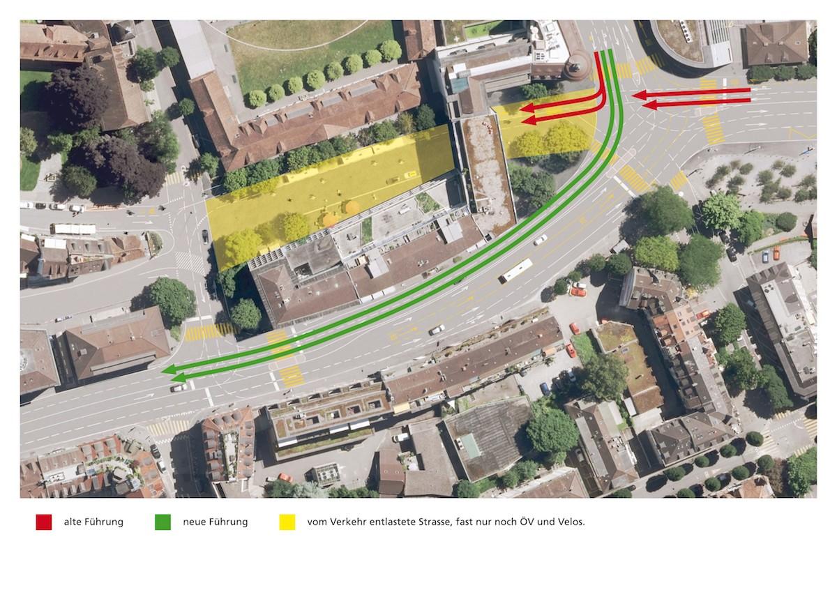 So würde die neue Verkehrsführung aussehen: Der Verkehr würde nicht mehr über die Obergrundstrasse (gelb markiert), sondern über den Hallwilerweg (grüne Pfeile) führen.