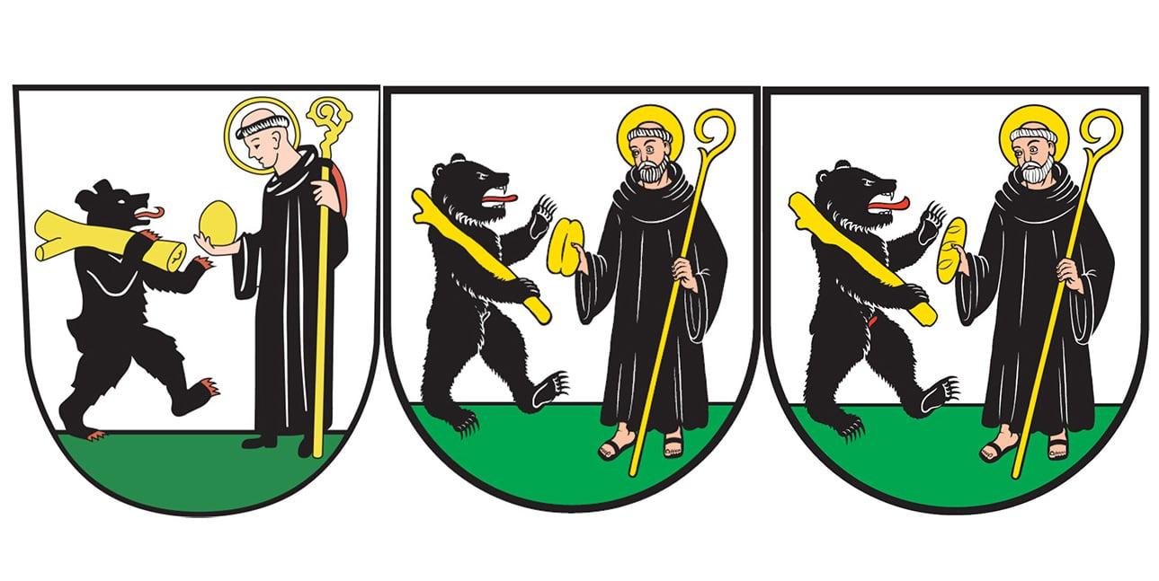 Das Krienser Wappen: das bisherige, der erste gescheiterte Vorschlag und der neue, über den das Volk abstimmt.