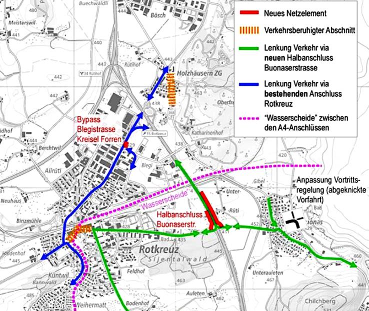 So soll das neue Gesamtverkehrskonzept aussehen – in roter Linie der geplante Autobahnhalbanschluss zur Entlastung des morgendlichen und abendlichen Pendlerverkehrs.
