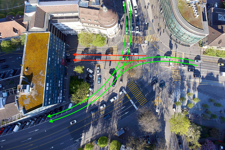 So wie auf den grünen Pfeilen könnte der Verkehr in Zukunft fliessen.