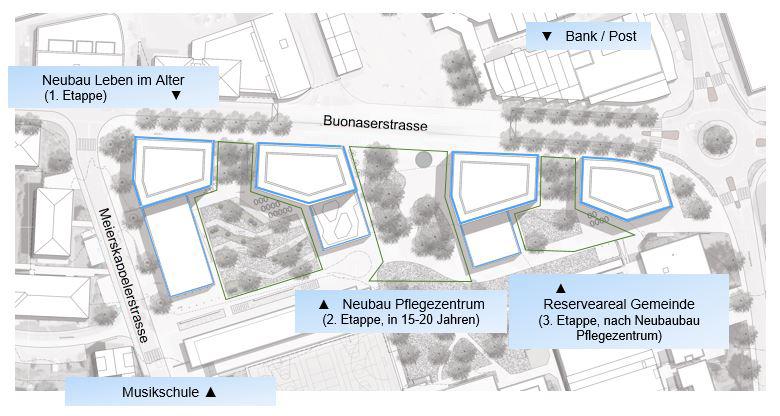 Da wird einiges neu: Das Gebiet südlich der Buonaserstrasse.