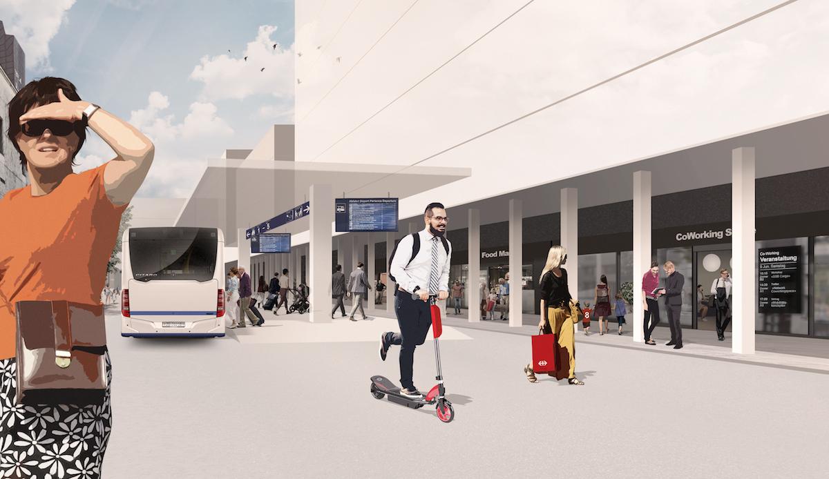 So könnte der Busbahnhof künftig aussehen.