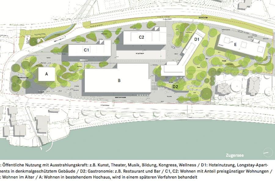 So soll das alte Kantonsspital-Areal in Zug künftig aussehen: Die Baufelder B, D1 und D2 sind für öffentliche Nutzungen vorgesehen (Kultur, Restaurant und Hotel). Die Baufelder A, C1, C2 und E sind für Wohnungen und Gewerbe reserviert.