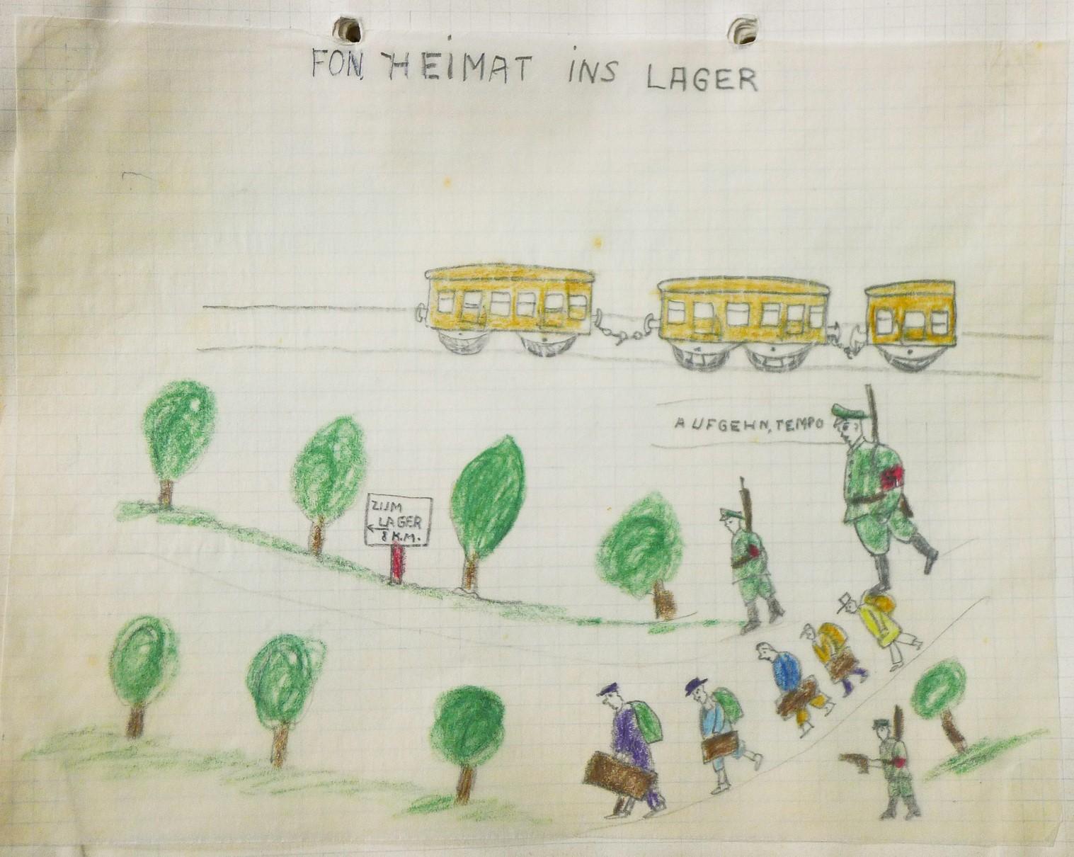 «Fon Heimat ins Lager», Zeichnung von Kalman Landau, 1945 Archiv für Zeitgeschichte ETH Zürich: Biografien und Sachthemen/78