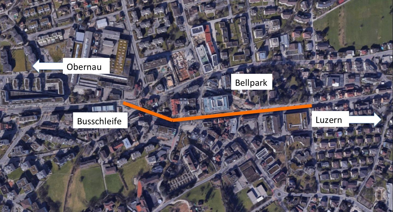 Ungefähr auf diesem Abschnitt (orange) könnte Tempo 30 eingeführt werden.