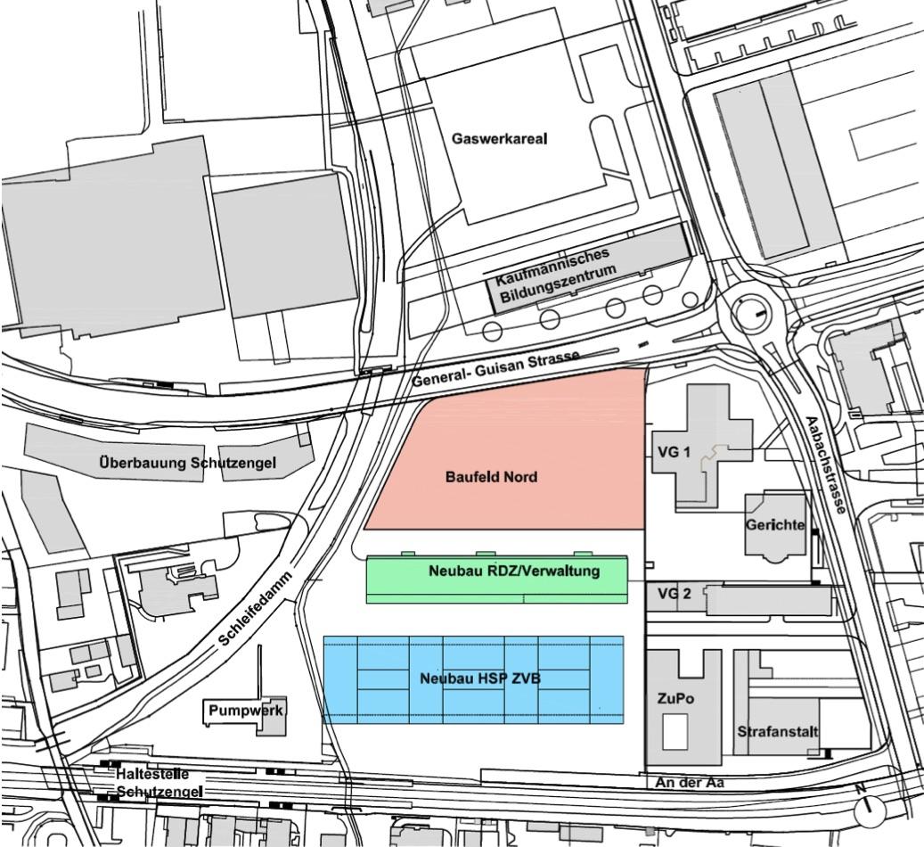 Neubebauung Areal An der Aa gemäss neuem Bebauungskonzept.