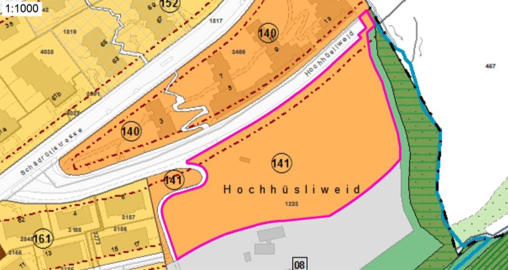 Oberhalb der Strasse die bestehen Liegenschaften der SBL, unten die eingezonte Fläche als Teil der städtischen Fläche.