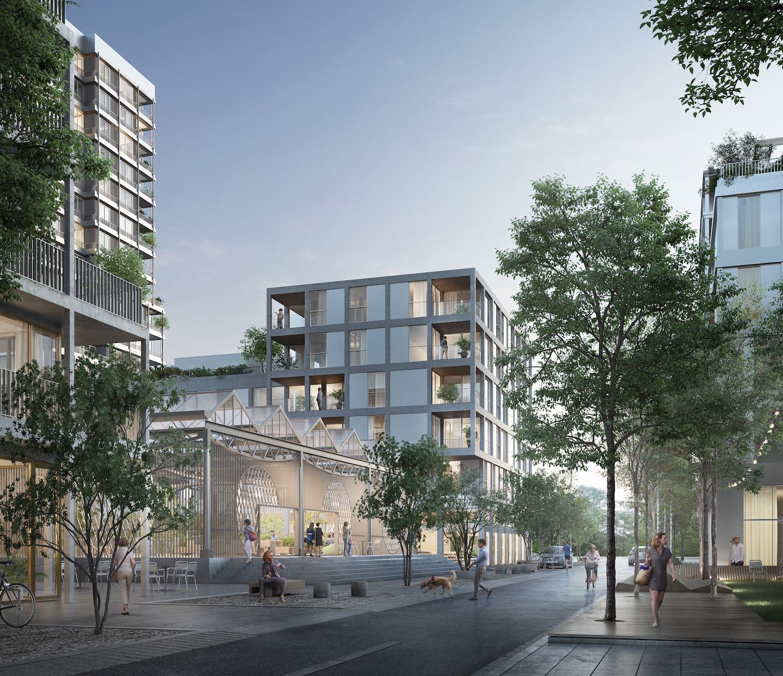 So könnte das neue Wohnquartier aussehen: Blick vom Vino Vintana auf die verkehrsberuhigte Weichlenstrasse und die Do-it-Halle. (Visualisierung: zvg)