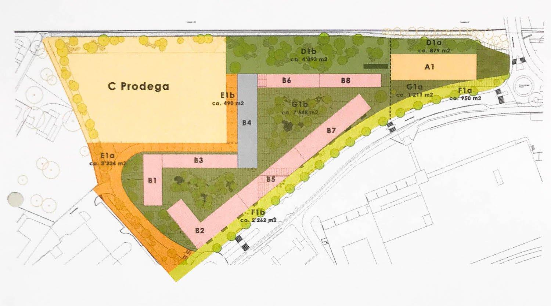 Die Übersicht der Parzellierung: Bei A1 handelt es sich um das Hochhaus, in den Gebäuden der Baufelder B befinden sich die 325 Wohnungen.