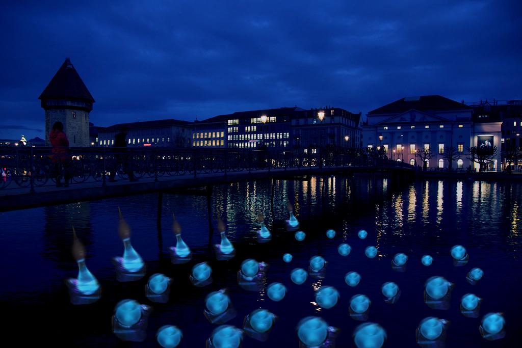 So soll die Installation am Lichtfest Luzern ab Donnerstag aussehen.