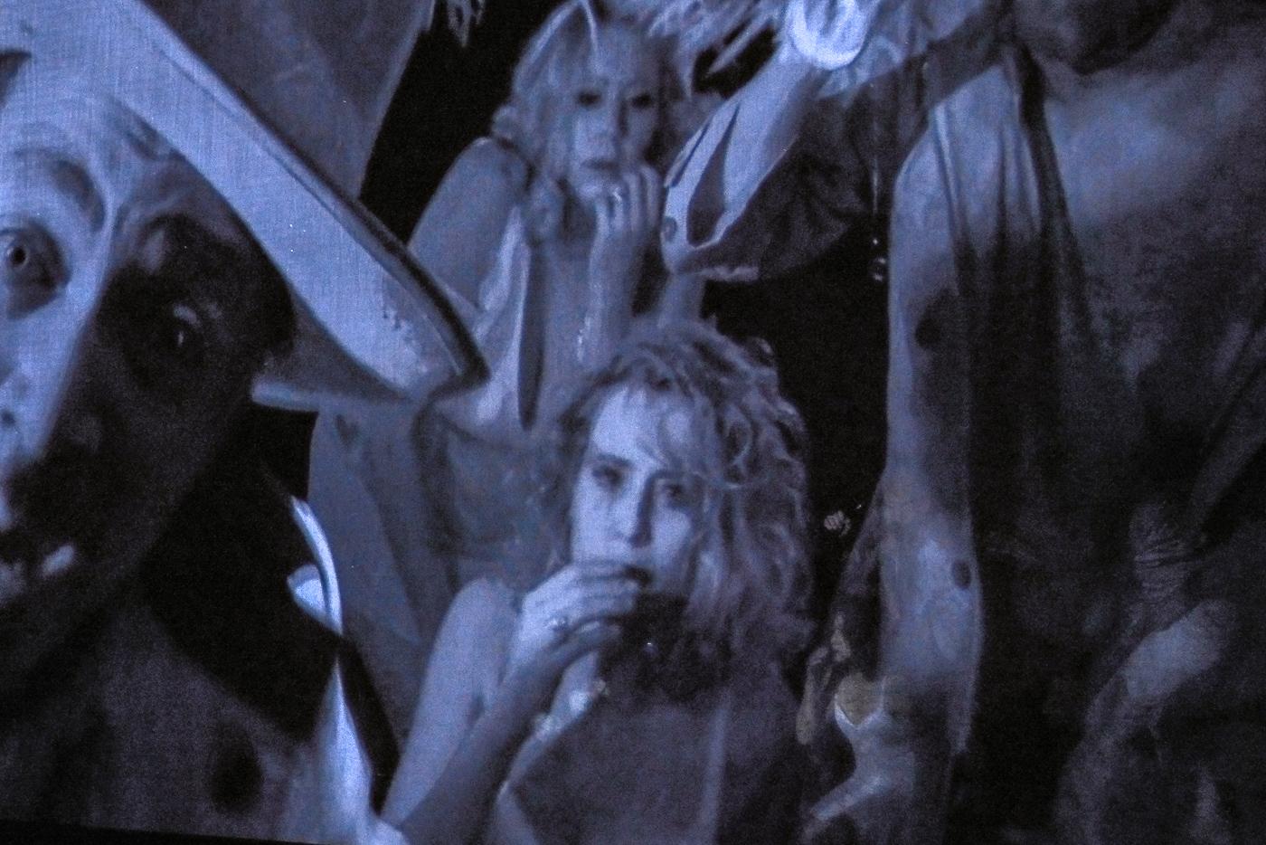 Die Liveaufnahmen der Infrarotkamera werden in Grautönen auf die Leinwand projiziert.