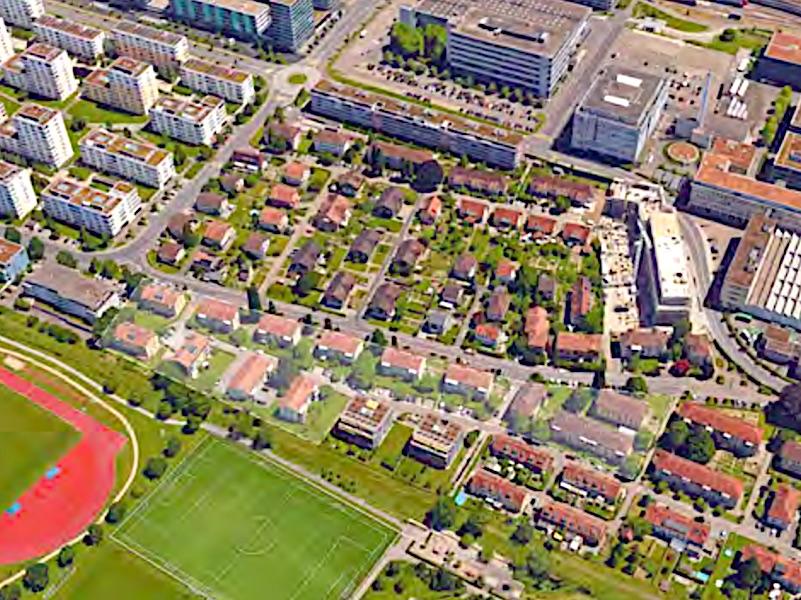Die Zuger Gartenstadt vor einigen Jahren. Der neu zu überbauende Bereich befindet sich in der unteren Mitte und ist weisslich markiert.
