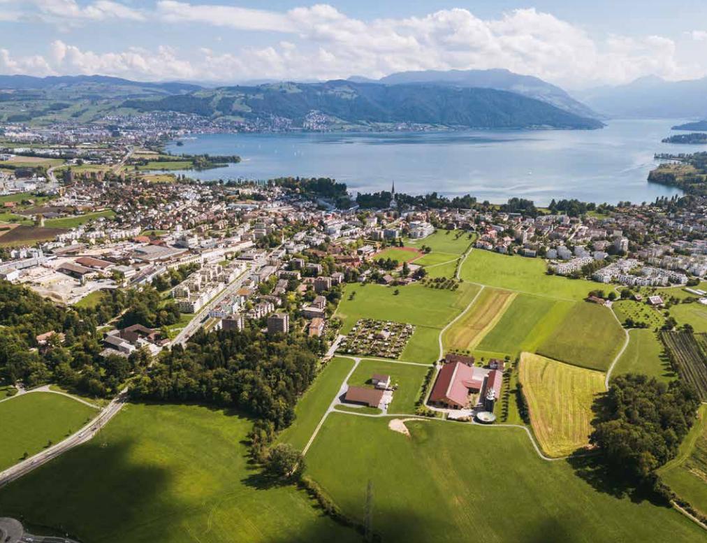 Sicht aus Nordwesten auf Cham und das Gebiet Allmendhof/Röhrliberg auf dem die Kantonsschule geplant ist.
