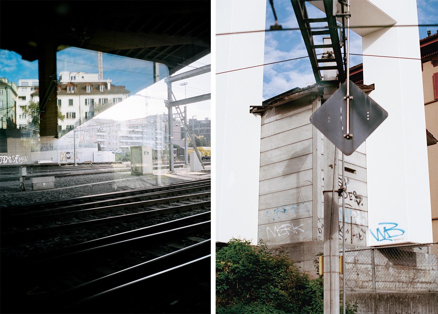 Aufnahmen durchs Zugfenster in Luzern.