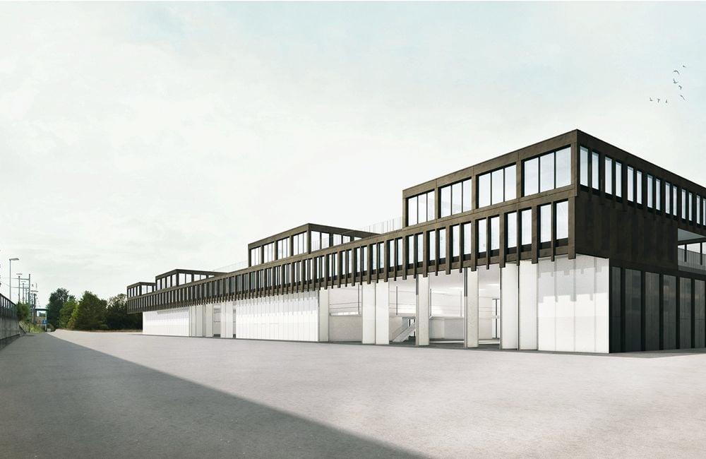 Visualisierung: Der geplante neue Hauptstützpunkt der Zugerland Verkehrsbetriebe AG.