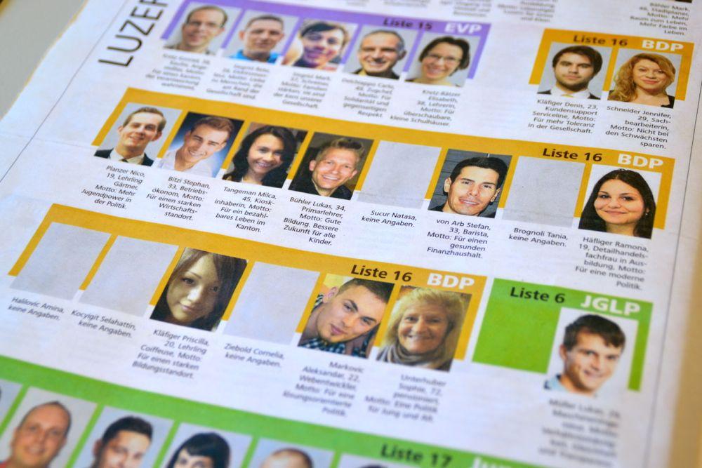 Wahlbeilage der «NLZ»: Graue Felder, wo die  Fotos der BDP-Kandidaten prangen sollten.