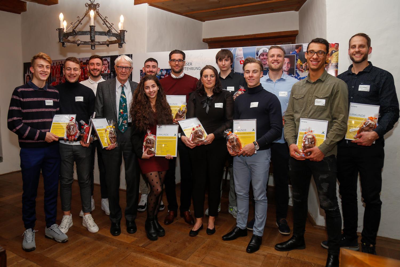Die ausgezeichneten Sportler 2018 an der Ehrung im Schloss Schauensee.