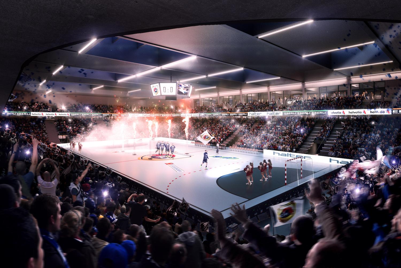 Die Tribüne in der Sporthalle ist neu über zwei Ränge verteilt. (Visualisierung: zvg)