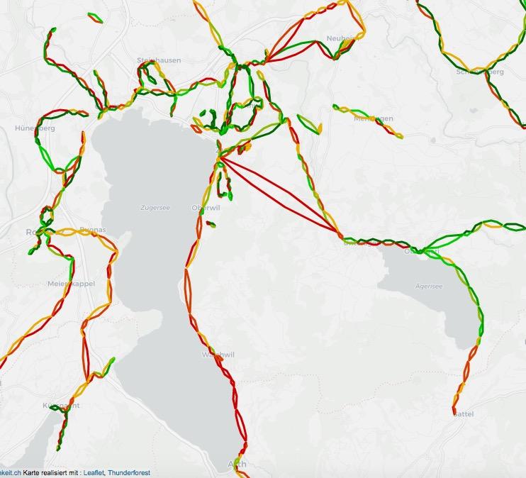So farbenfroh sieht die Zuger Karte aus, wenn man sich die Pünktlichkeit der ZVB-Busse anschaut.