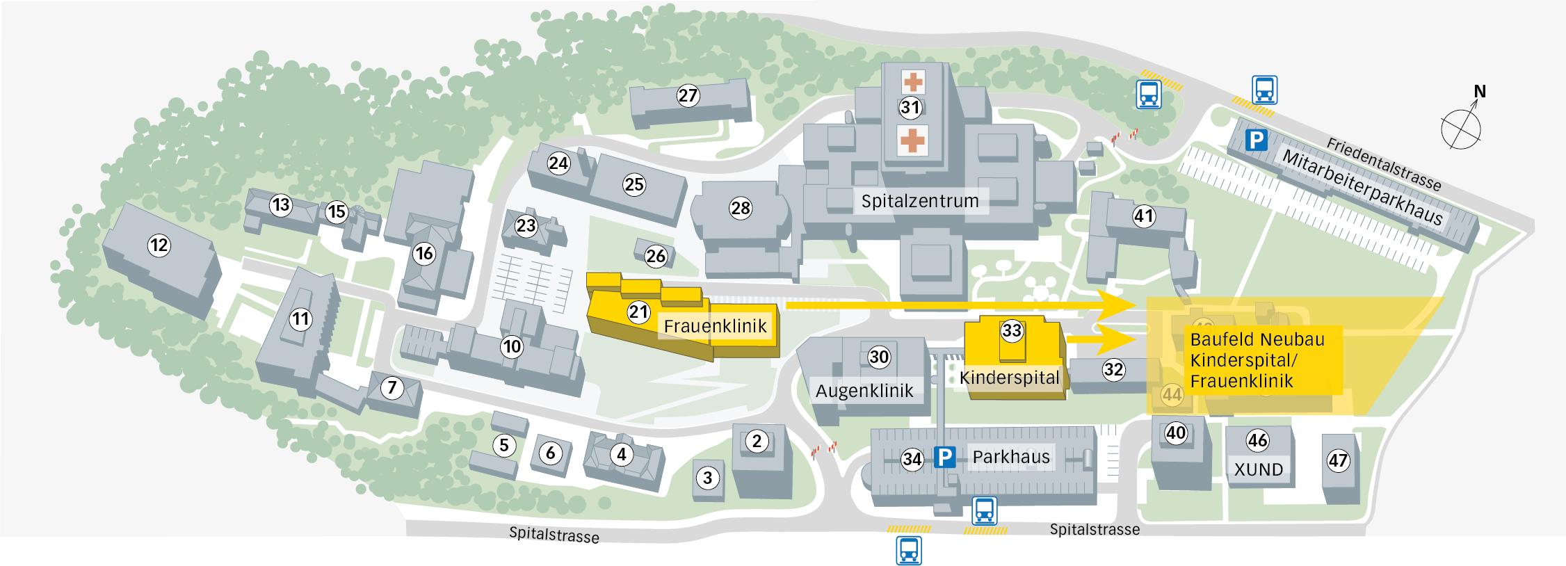 Die künftigen Standorte der beiden Kliniken.