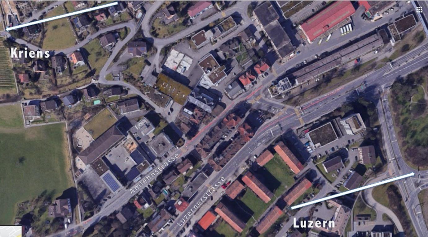 Die Problemstelle besteht auf Sonnenbergseite Richtung Kriens.