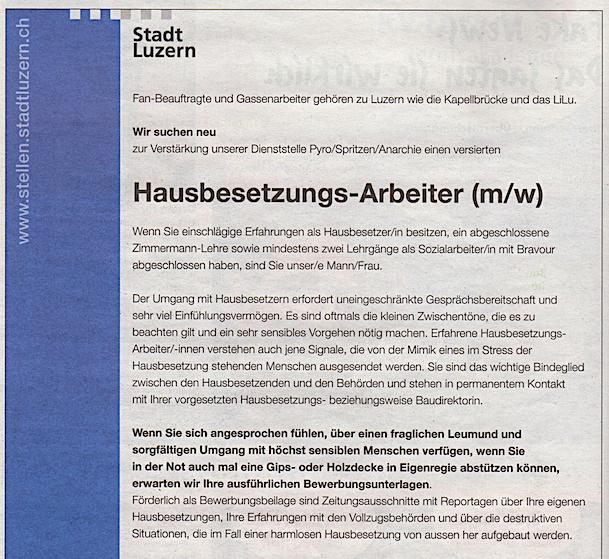 Auch die Stadt Luzern inseriert angeblich in der Fasnachtszeitung.
