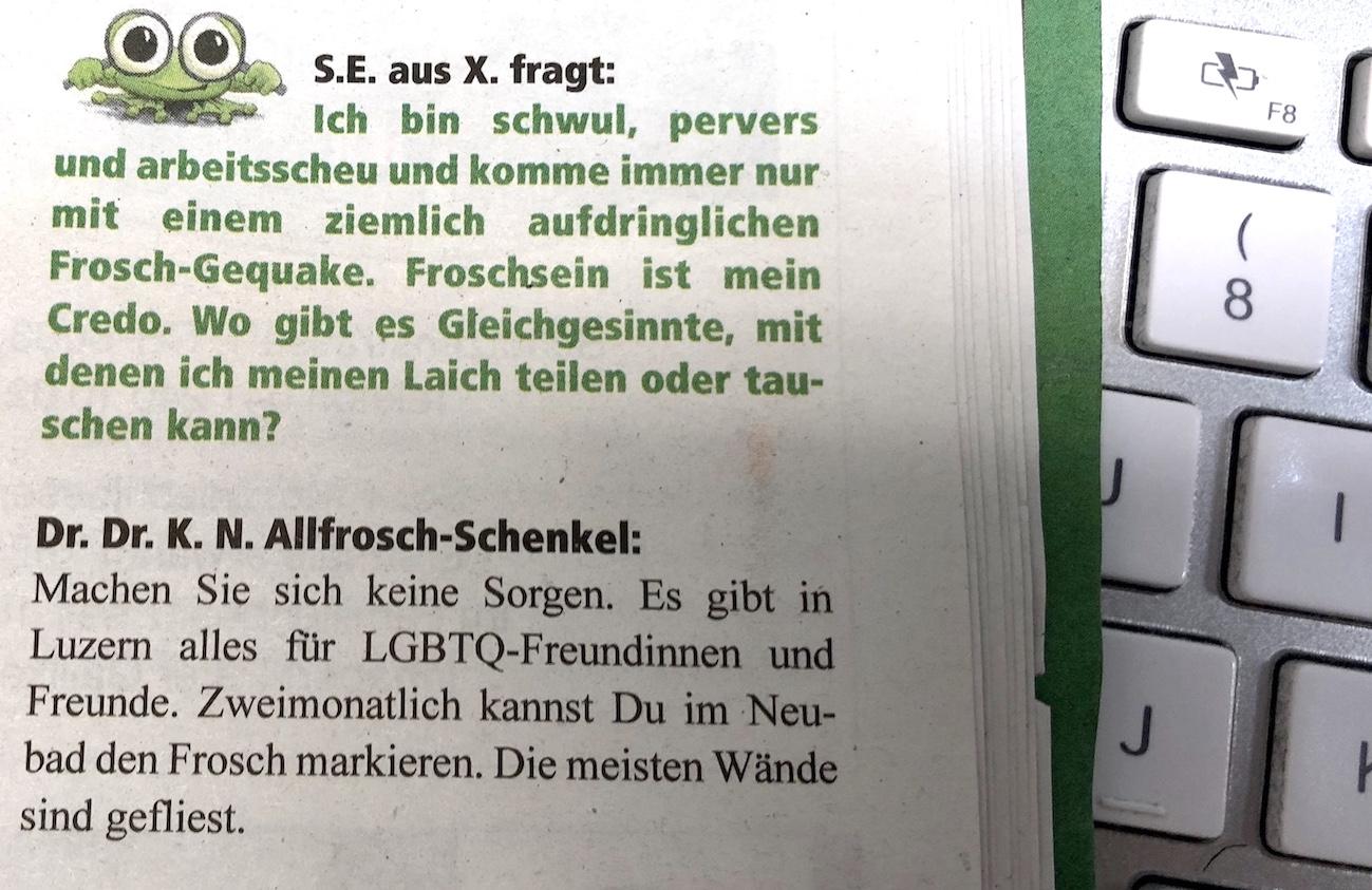 Der Beitrag des Anstosses im «Knallfrosch».