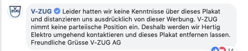 Mit diesen Worten hat V-Zug auf Facebook reagiert.