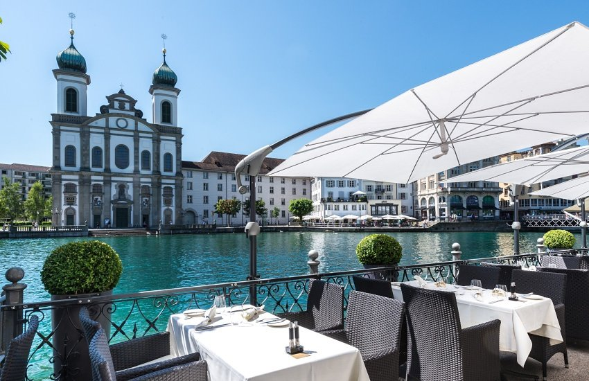 Ausblick von der Terrasse des Restaurants Balances.