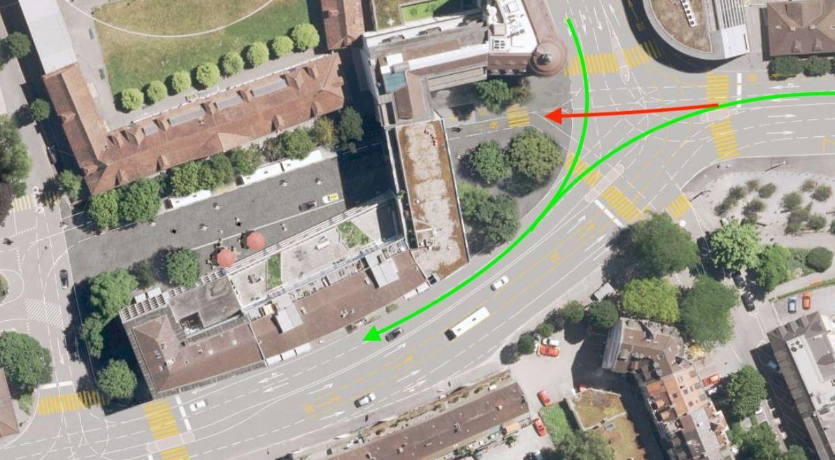 So wie auf den grünen Pfeilen könnte der Verkehr in Zukunft beim Pilatusplatz fliessen.