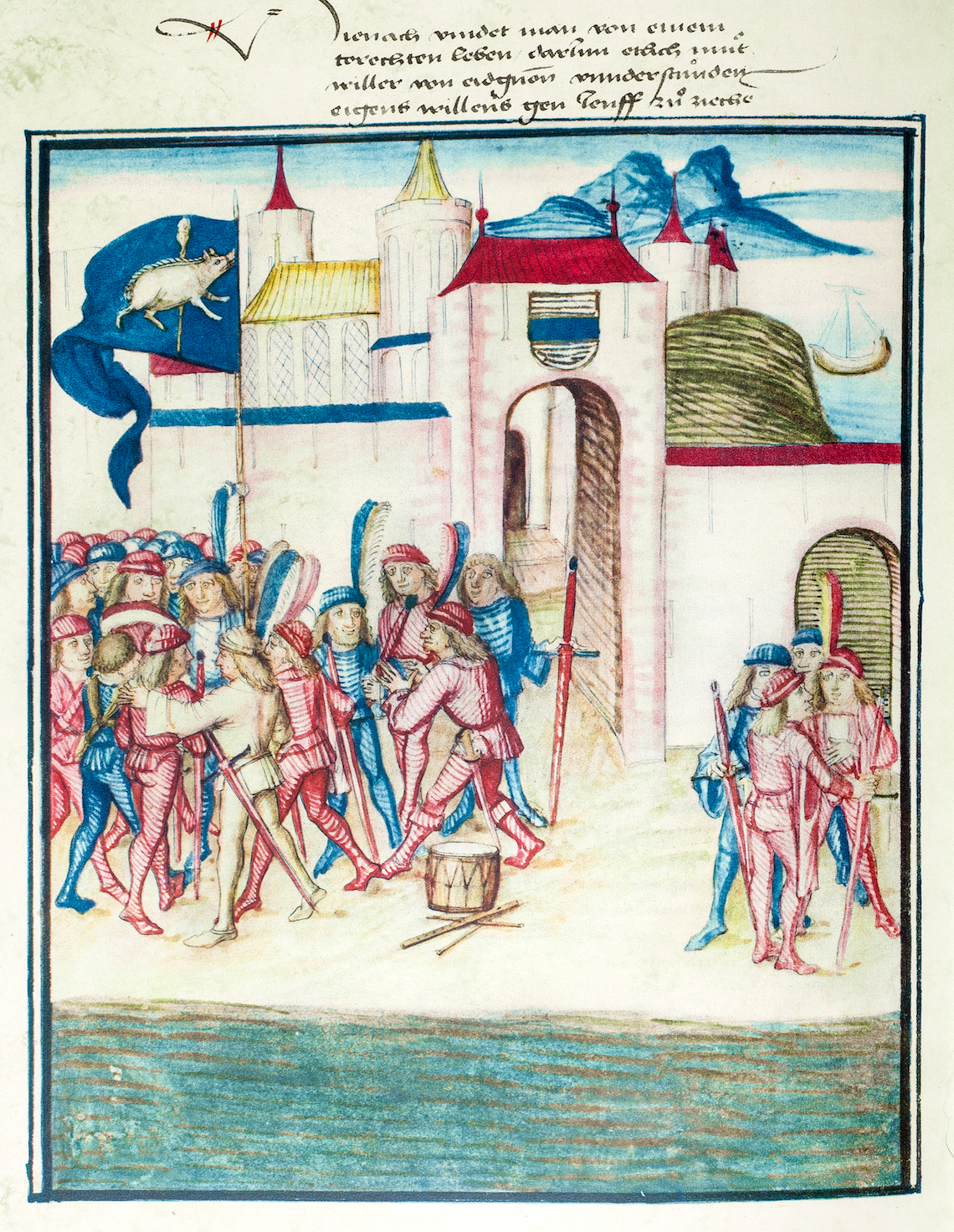 Die Brüder vom torechten Leben sammeln sich nach der Rückkehr von der Schlacht bei Nancy an der Zuger Fasnacht unter dem blauen Banner mit Kolben und Sau.