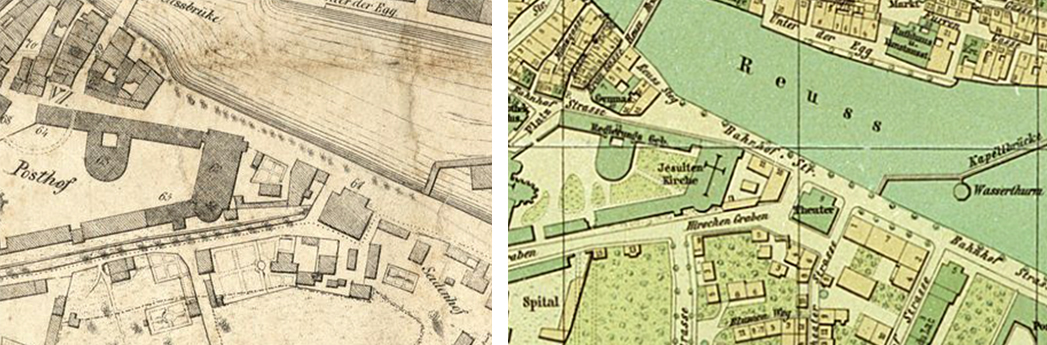 Freienhof und Jesuitenkirche in den Stadtplänen von 1849 (links) und 1890 (rechts)