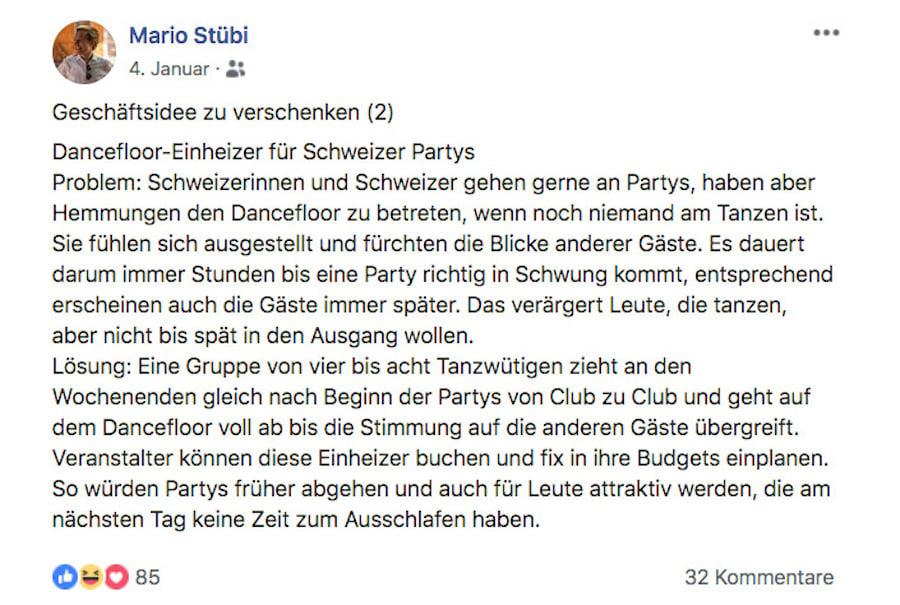 Mario Stübi verschenkt auch Geschäftsideen – etwa diese.