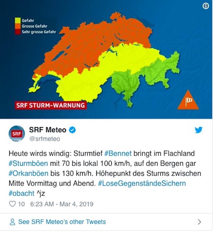 Sturmtief «Bennet» brettert über die Schweiz