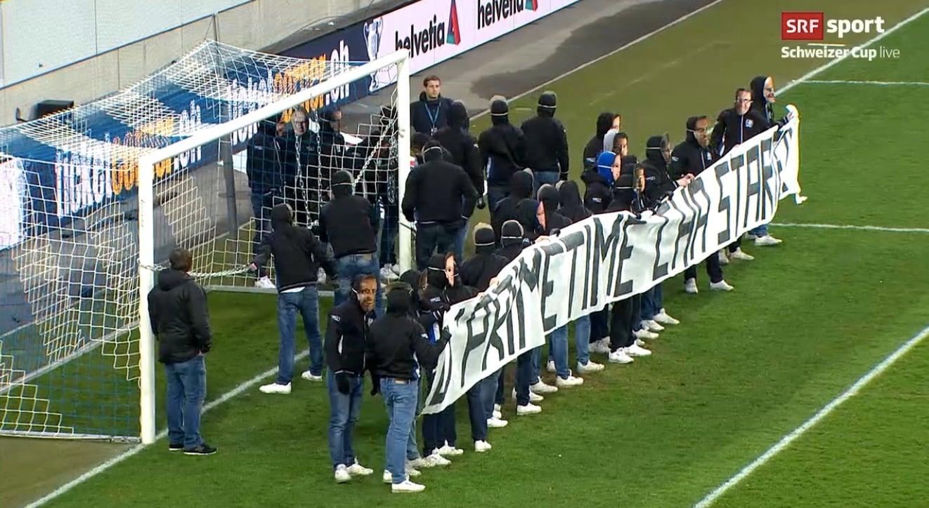 So lief die Protestaktion der FCL-Fans gegen die frühe Anspielzeit des Cup-Viertelfinal gegen die Young Boys am Mittwochabend in der Swissporarena ab.