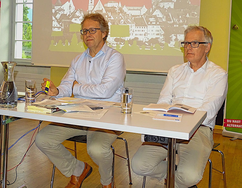 Zwei Vorreiter der Grünen in Zug: Josef Lang (links) und Hanspeter Uster.