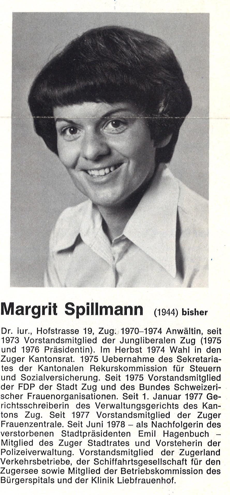 Margrit Spillmann (FDP) wurde 1978 als erste Frau in den Zuger Stadtrat gewählt.