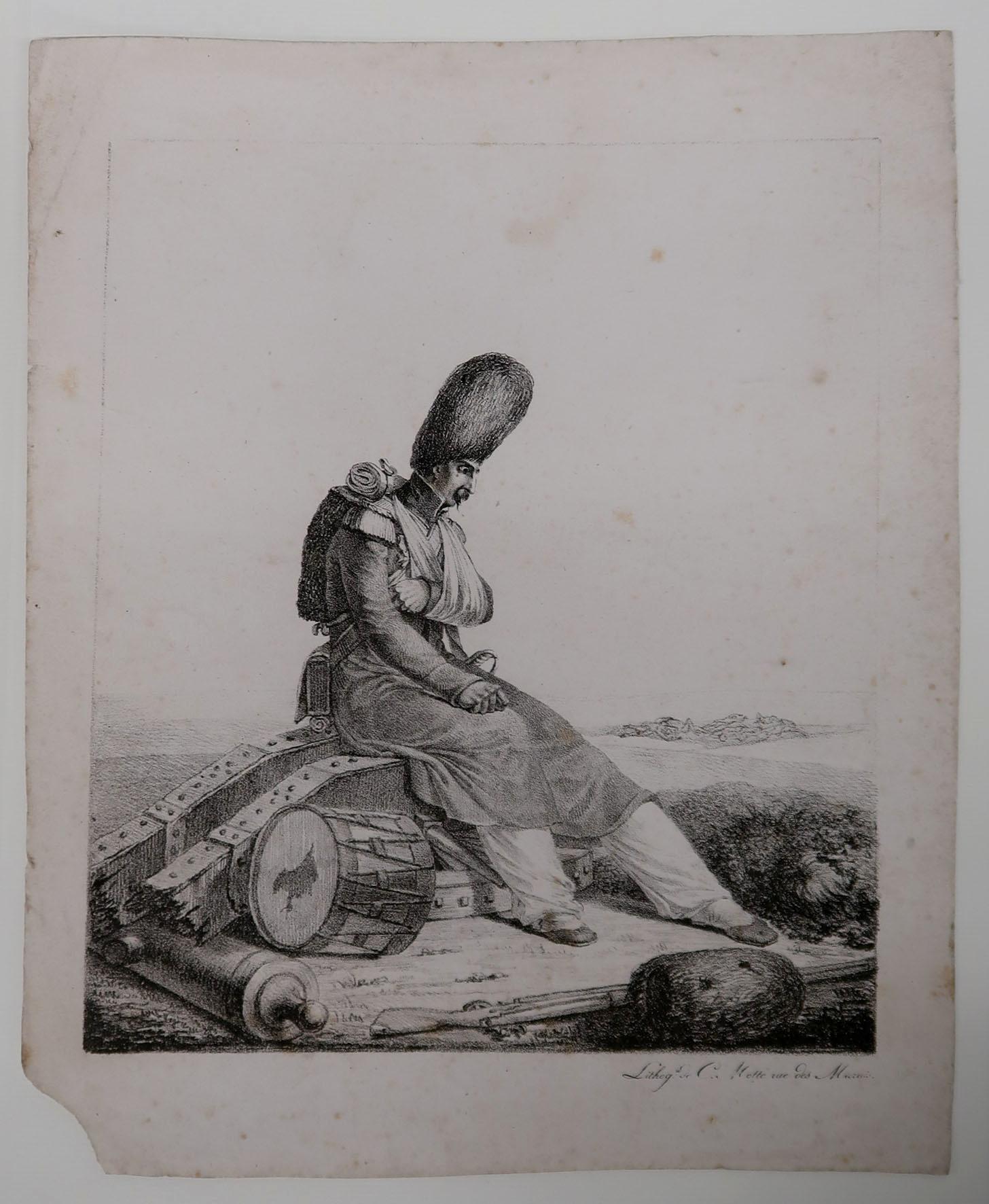 Bild 5: Verletzter Soldat mit einer Grenadiermütze, Lithographie, Charles Étienne Pierre Motte (1785 - 1836), Paris, 1. Hälfte 19. Jahrhundert, Sammlung Museum Burg Zug
