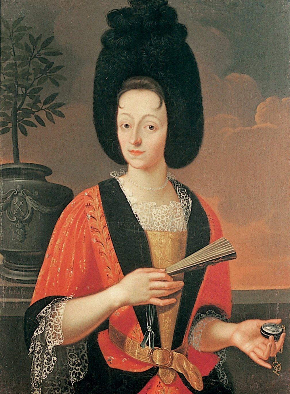 Bild 3: Kopfputz weiblich: Bildnis Regina Kolin mit Hinderfür, Öl auf Leinwand, 1699, von Johannes Brandenberg (1661-1729), Sammlung Museum Burg Zug