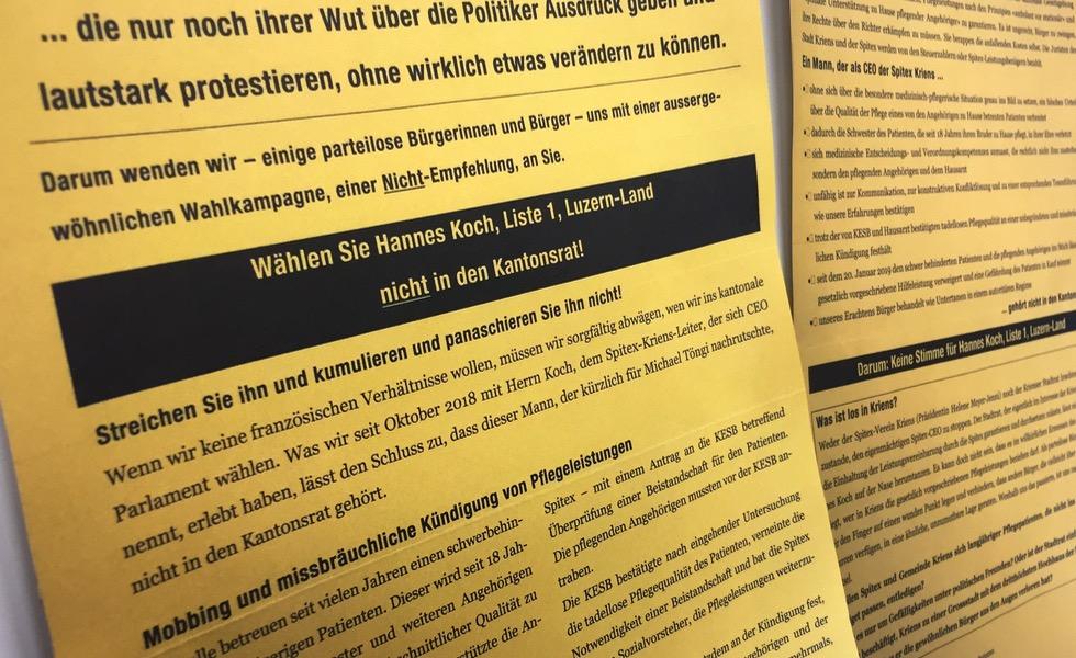 Ein Flugblatt macht Stimmung gegen Hannes Koch.