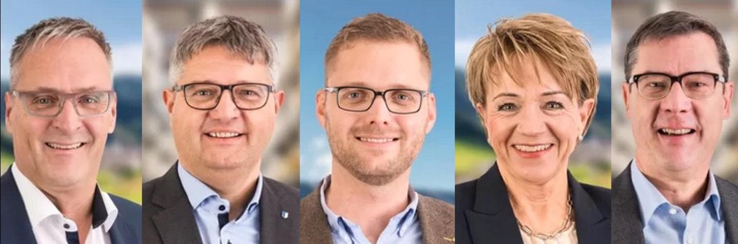 Die fünf bisherigen CVP-Kantonsräte, die wieder antreten: Thomas Grüter, Urs Marti, Michael Kurmann, Inge Lichtsteiner und Ludwig Peyer (von links nach rechts).