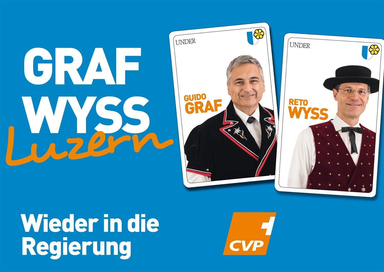 Das CVP-Gespann tritt als Jasskarten auf.