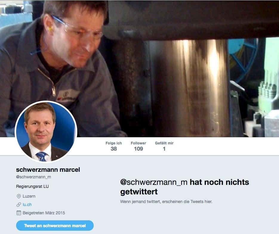 Schwerzmann folgt immerhin 38 Personen, twittert aber nichts.