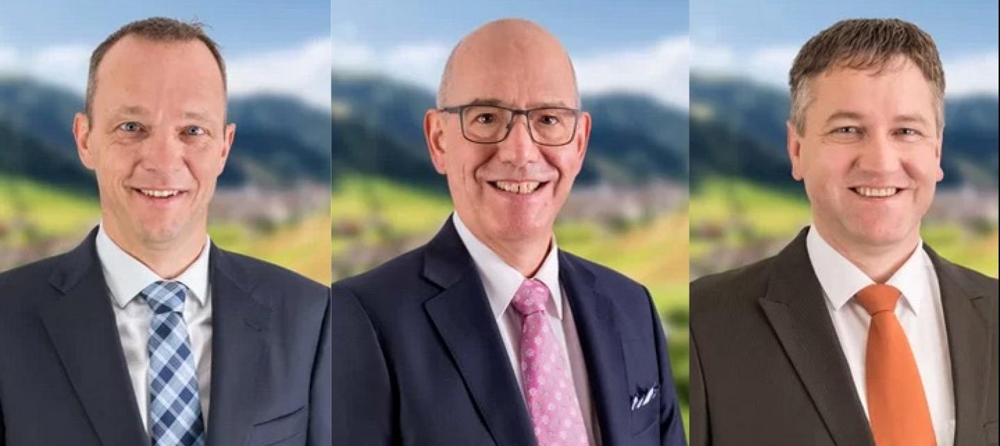 Drei der vier bisherigen CVP-Kantonsräte treten wieder an: Guido Roos, Hans Lipp und Pius Kaufmann (v.l.n.r).