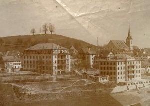 Kloster Menzingen, zirka 1892. Damals standen noch weniger Bauten.