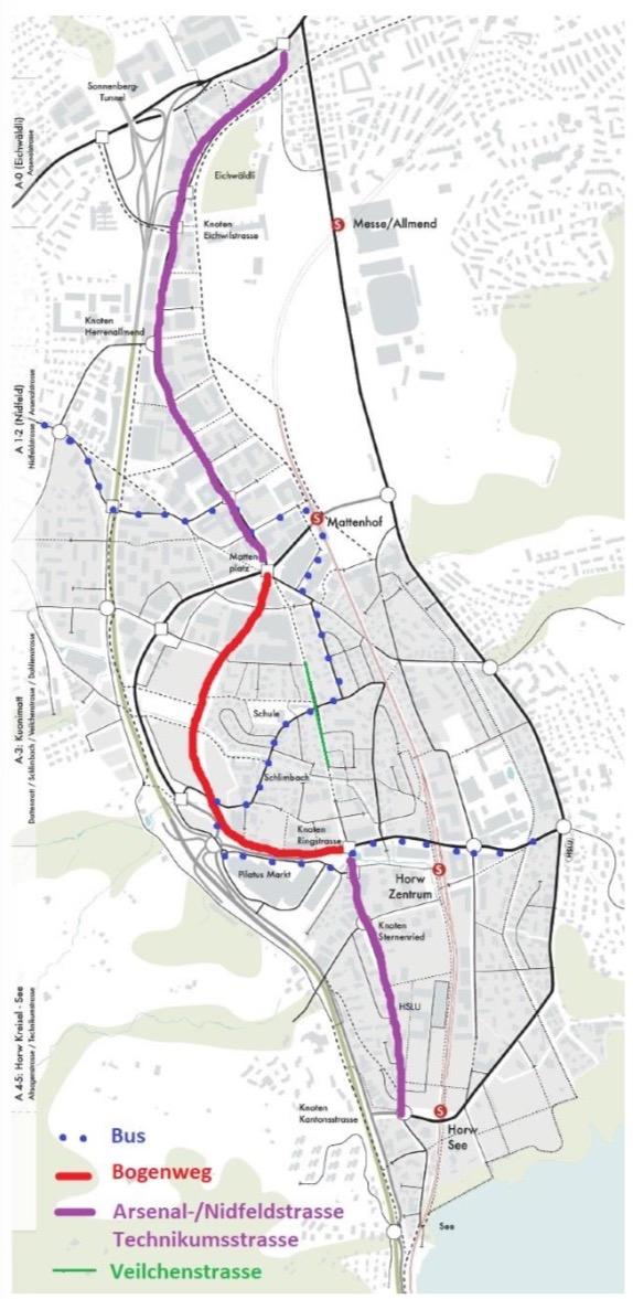 Die Route der Südallee. (Visualisierung: zvg)