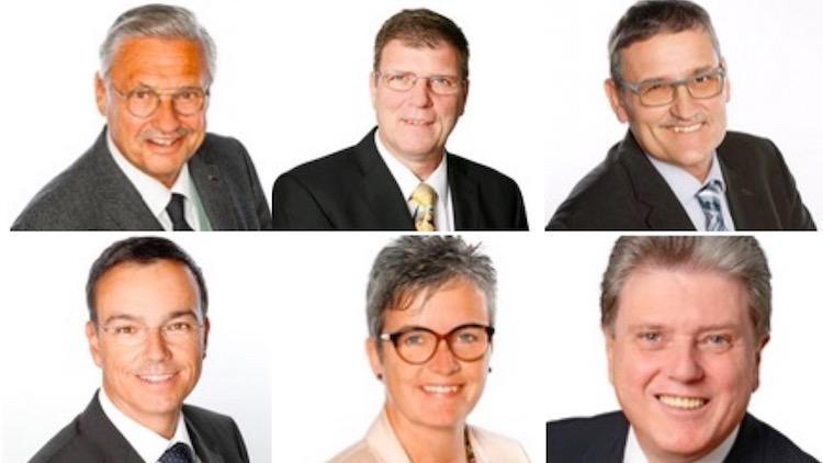 Treten für die SVP wieder an: Räto Camenisch, Reto Frank, Franz Gisler, Daniel Keller, Barbara Lang-Schnarwiler und Guido Müller (im Uhrzeigersinn).