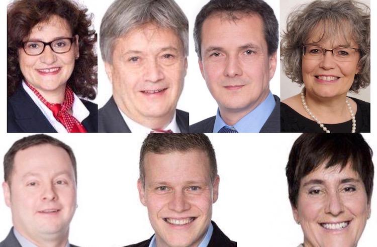 Wollen es für die CVP nochmals wissen: Christine Kaufmann-Wolf, Gianmarco Helfenstein, Daniel Gasser, Claudia Bernasconi, Marlis Krummenacher, Daniel Piazza und Peter Zurkirchen (im Uhrzeigersinn).