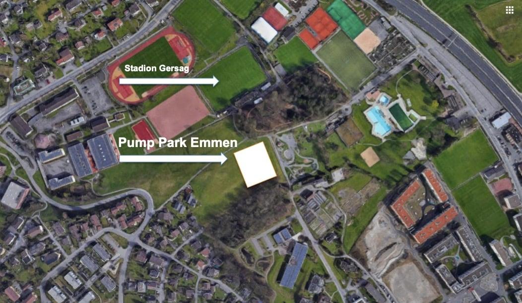 Der Pump Park Emmen soll direkt neben dem Themenspielplatz neben dem Stadion Gersag entstehen.