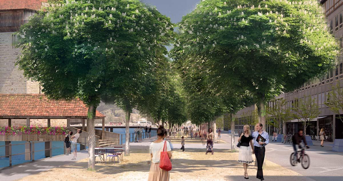 Zwei Baumreihen und ein Mergelbelag sollen die Bahnhofstrasse zu einem schöneren Ort machen. (Bild: Koepfli Partner GmbH, Luzern)